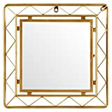 Rivet Modern Metal Lattice-Work Square Mirror, 16.25''H, Gold Finish