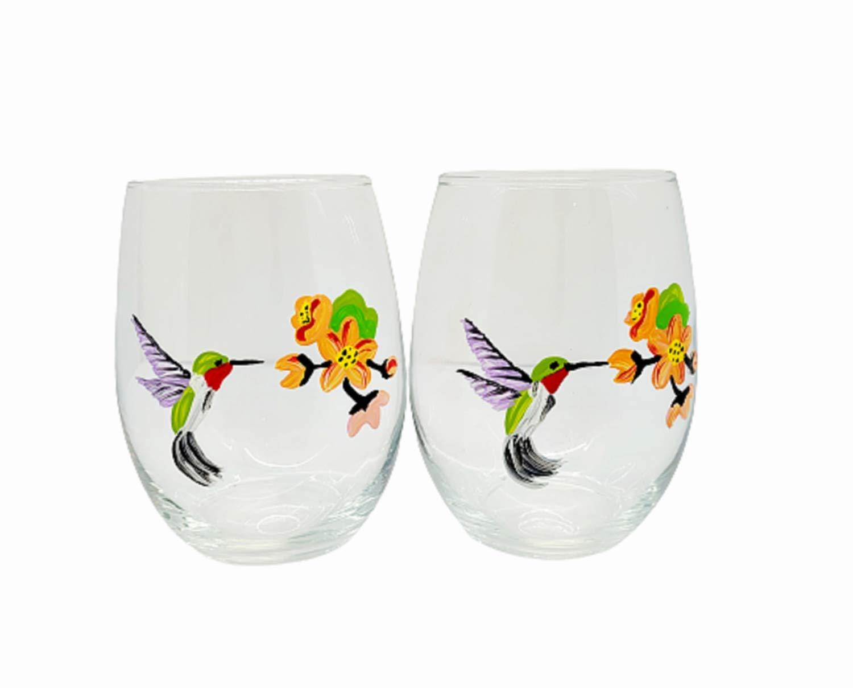 1 Hand painted humming bird wine glass