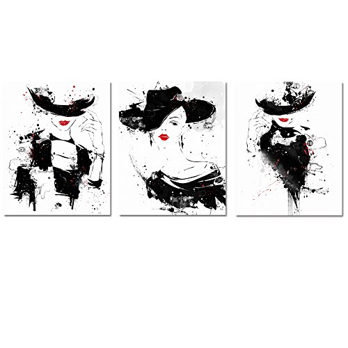 Fashion Canvas Wall Art Sexy Woman Red Lip Fashion Costume Design Canvas Poster Prints Dress Room Office Wall Decoration  Red Lip