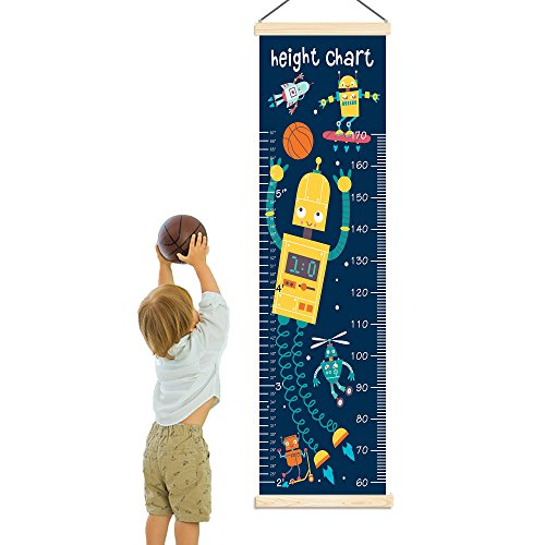 Panda_mall Baby Height Growth Chart Ruler Kids Roll-up Canvas Height Chart Removable Wall Hanging Measurement Chart Wall Decoration with Wood Frame for Boys Girls Kids Room(Robot) by Panda_mall (Image #2)