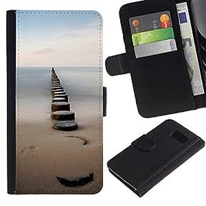 For Samsung Galaxy S6 SM-G920,S-type® Sea Pier Dock Sand Ocean Horizon - Dibujo PU billetera de cuero Funda Case Caso de la piel de la bolsa protectora