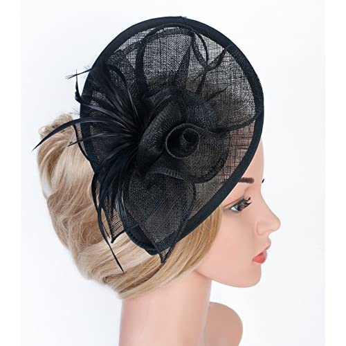 ef17573ab15 Z X Sinamay Fascinator Pillbox Hat Headband Hair Clip For Cocktail Tea Party