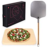 Blumtal Pizza Stone with Peel; Cordierite Pizza Plate with Aluminium Paddle and Long Handle Set