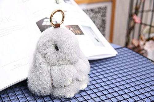 YISEVEN Stuffed Bunny Keychain Toy - Soft and Fuzzy Large Stitch Plush Rabbit Fur Key Chain - Cute Fluffy Bunnies Floppy Furry Animal Doll Gift for Girl Women Purse Bag Car Charm - Light Gray by YISEVEN (Image #3)