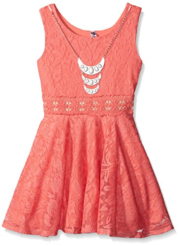 Price comparison product image Beautees Big Girls' Solid Sleeveless Skater Dress, Sunset Coral, 10