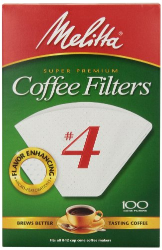 Melitta Cone Coffee Filters, White, No. 4, 100 count