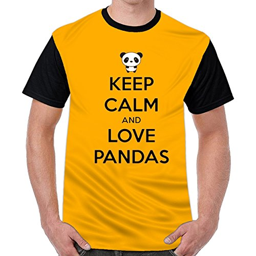 Speciallife Keep Clam and Love Pandas Men Printed Crew Neck t Shirts Graphic T-Shirt Dark Yellow