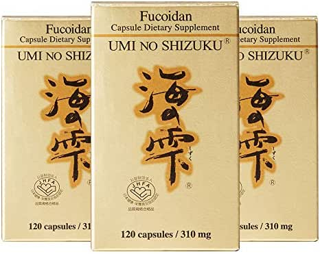 3 Bottles of Umi No Shizuku Fucoidan Pure Brown Seaweed Extract Optimized Immune Support Health Supplement Enhanced with Agaricus Mushroom