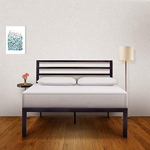 Ambee21 – Bed Frame with Headboard 14 inch Queen Bed Frame Black Heavy Duty Metal Bed Frame, Sturdy Mattress Support, Under Bed Storage, Steel Slat Support, Easy DIY Setup, No Box Spring Needed