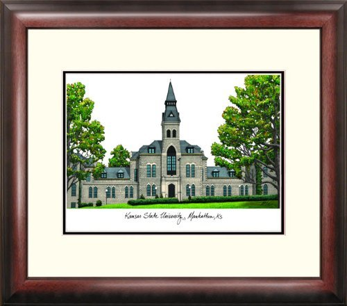 (Kansas Jayhawks KU Lithograph Framed Campus)