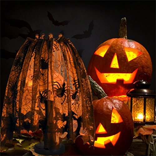 """60""""x 20"""" Halloween Spider Web Decoration Valance Lace Lampshade Topper Fireplace Cobweb Mantle Scarf Window Curtain Party Supplies with Ribbon for Halloween Parties, Décor & Spooky Meals, -"""