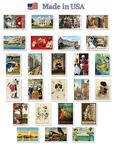 VINTAGE REPRINTS 1907-1941 postcard set of 25. Post card variety pack of vintage postcards reprnits. Made in USA.
