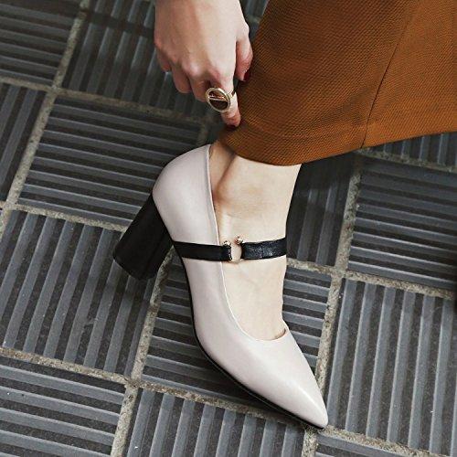 Sandali sottolineato Donna singole tacco Alla riso Scarpe AJUNR scarpe bianco alto Da 7cm 35 Moda grossolana wild 39 di scarpe dxqnn0Y
