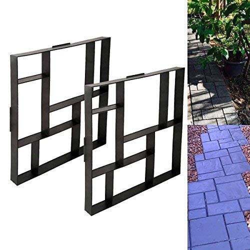 Tengchang 2pcs Driveway Paving Pavement Mold Patio Concrete Stepping Stone Path Walk Maker 20Inch (Patio Paving For Stones Best)