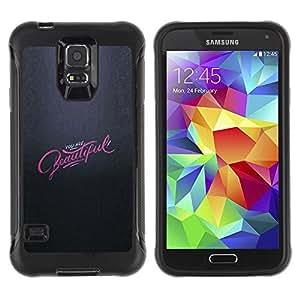 LASTONE PHONE CASE / Suave Silicona Caso Carcasa de Caucho Funda para Samsung Galaxy S5 SM-G900 / pink grey you are beautiful inspiring