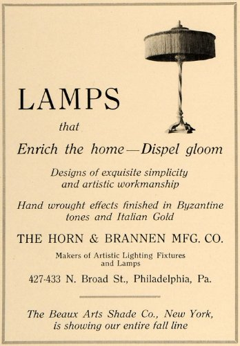 1918 Ad Horn Brannen Lamps Beaux Arts Shade NY PA - Original Print Ad from PeriodPaper LLC-Collectible Original Print Archive