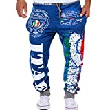 Leedford Clearance Sale, Causal Men's Pants Drawstring Elastic Waist Printing Loose Sports Pants (Blue, L)