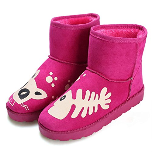 Eshion Donna Casual Inverno Caldo Stivali Da Neve Caviglia Scarpe Basse Rosa Rosso
