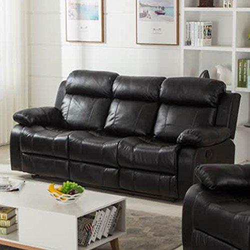 Coja by Sofa4life Alexander Faux Leather Sofa Black