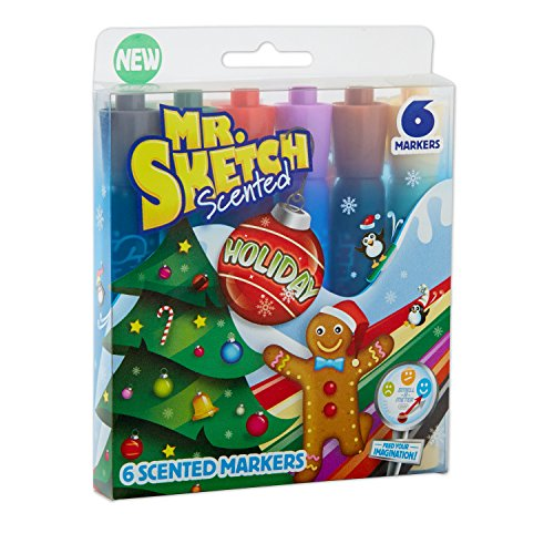 Mr. Sketch Scented Markers, Chisel Tip, Holiday Colors , 6-Count