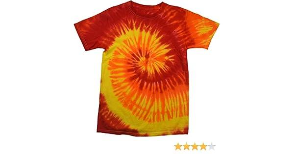45459b41 Amazon.com: Tie Dye Shirt Multi Color Red Yellow Orange Blaze Swirl T-Shirt:  Clothing