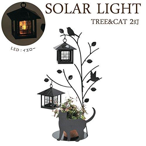 ソーラーライト LED ガーデンライト 光センサー付 屋外照明 2灯タイプ Tree&Cat 猫のシルエット B0765WX2WL 14040