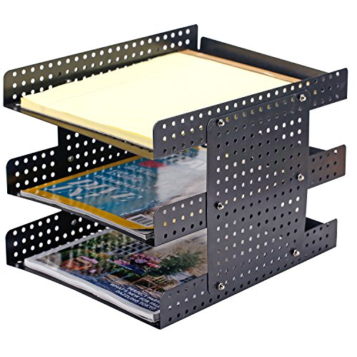 Top 3 Tier Metal Document Tray, Desktop File Holder with Adjustable Height Design, Black