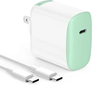 10ft 18W USB C Fast Charger for 2020/2018 iPad Pro 12.9 Gen 4/3, iPad Pro 11 Gen 2/1, Google Pixel 4 Pixel 3 Pixel 2 XL Pixel 4A 3A XL 2XL 3XL 4XL, Foldable Plug, LED, with USB C to C Charging Cord