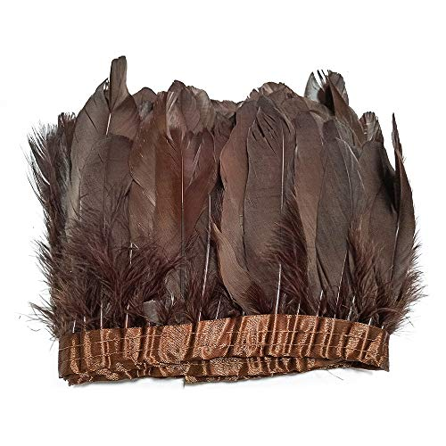 - wanjin Duck Goose Feathers Trim Fringe Craft Feather Clothing Accessories Pack of 2 Yards(Brown)