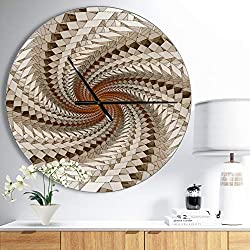 Designart White Fractal Spiral Pattern' Oversized Modern Metal Clock, Circle Wall Decoration Art, 23x23 Inches
