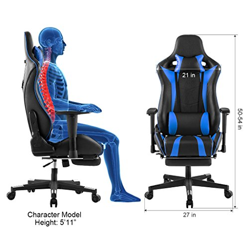LANGRIA PU Leather Computer Gaming Chair Executive High Back Racing Style Office  Chair With Footrest Adjustable Lumbar And Cervical Neck Cushions Padded ...