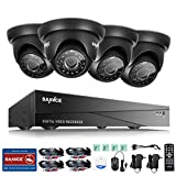 SANNCE 8CH AHD/CVI/CVI/CVBS/IP 5-in-1 1080N DVR Recorder with 4pcs 720P Video Security Camera System, IR Cut, Day Night Vision, No HDD