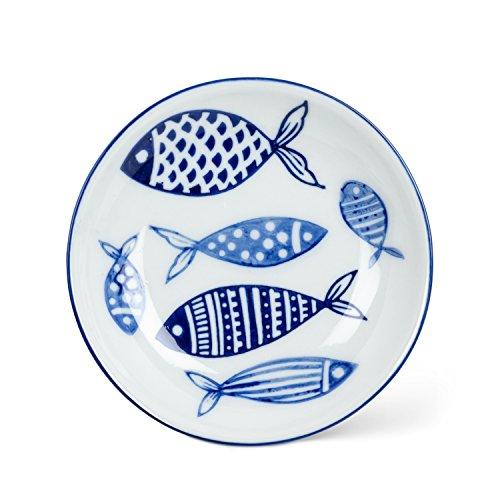 Abbott Collection 27-BLUEFISH-032 Round Shallow Dish, 4