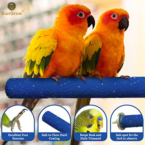 Image of SunGrow Bird Perch - Naturally Keeps Pet Bird Nails Trim & Beaks Smooth - Satiates Pecking Instinct - Quartz Sand Covered - Perfect Length for Lovebirds, Budgies, Finches
