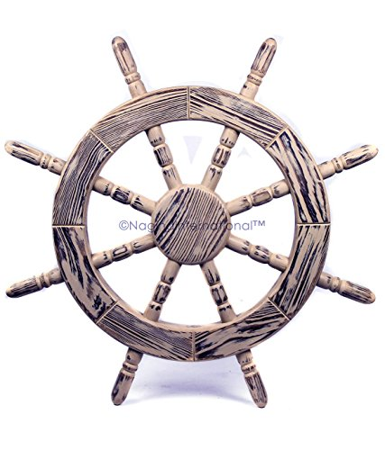 Nagina International Rustic Antique Beautiful Wall Decor Handcrafted Pine Nautical Ship Wheel | Maritime Exclusive Wall Decor (24 Inches, Junky White)