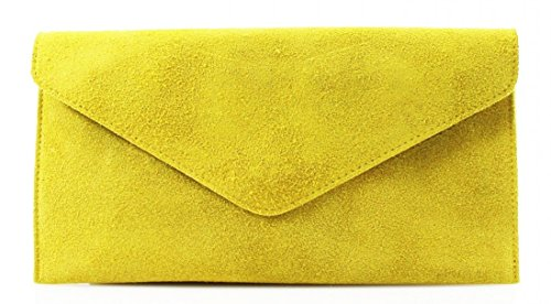 Shoulder bag Evening bag Genuine bag Underarm Large Suede Yellow Italian Suede Leather bag bag Clutch Envelope Verapelle bag Wrist Genuine Shaped Party bag w0vxqOxYp