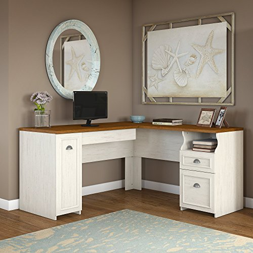 Fairview L Shaped Desk in Antique White by Bush Furniture