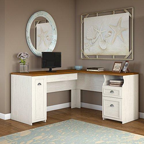 Fairview L Shaped Desk in Antique White Bush Industries--DROPSHIP