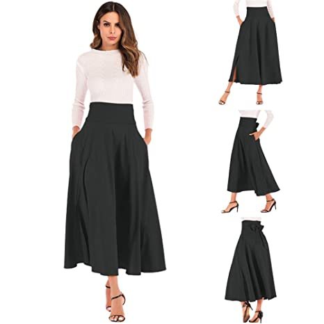 Women's Casual High Waisted Pleated Maxi Skirt With Pockets,Solid Long Vintage Strappy Skirt 3 Colors by Ham Len
