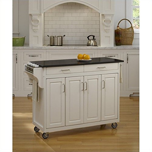 Home Styles 9200-1024 Create-a-Cart 9200 Series Cabinet Kitchen Cart with Black Granite Top, White Finish - Marble Kitchen Island