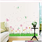 Amaonm® Removable Pink Dandelions Love Heart Shape Wall Decals Diy Green Grass Wall Stickers Murals Home Art Decor for Kids Girls Room Bedroom Living Room Tv Background Wall Corner Decorations