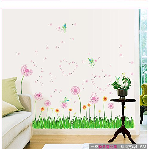 Amaonm Removable Pink Dandelions Love Heart Shape Wall Decals Diy Green Grass Wall Stickers Murals Home Art Decor for Kids Girls Room Bedroom Living Room Tv Background Wall Corner ()