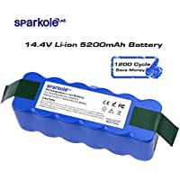 SPARKOLE 14.4V 5200mAh Li-ion Battery for iRobot Roomba 500 600 700 800 Series 500 510 530 531 550 560 610 650 655 770 780 800 870 R3,1200 Cycles