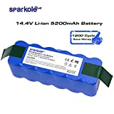 Sparkole 14.4V 5200 mAh Lithium Battery, roomba battery replacement, Super Durable 1200 Cycles Suit for iRobot Modes 500 600 700 800 Series, 5.2Ah Advanced Power System for Rechargeable