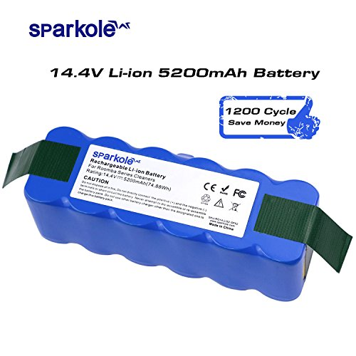 Sparkole 14.4V 5200 mAh Lithium Battery, roomba battery replacement, Super Durable 1200 Cycles Suit for iRobot Modes 500 600 700 800 Series, 5.2Ah Advanced Power System for Rechargeable by Sparkole