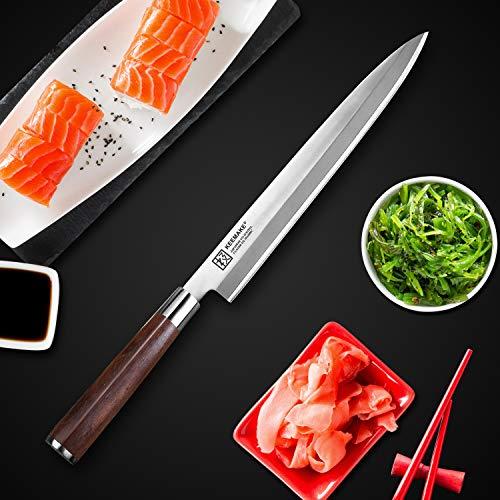 Sushi Knife, KEEMAKE Sashimi Yanagiba Knife Japanese - VG10 2-Layer Ply Steel Blade with Brazilian Pear Wood Handle by KEEMAKE (Image #2)