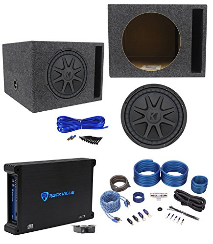 Kicker 44CVX124 CVX 12″ 750w RMS Car Subwoofer+Vented Sub Box+Amplifier+Wire Kit