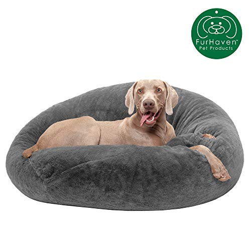 Furhaven Pet Dog Bed | Round Plush Faux Fur Refillable Ball Nest Cushion Pet Bed w/ Removable Cover for Dogs & Cats, Gray Mist, Large