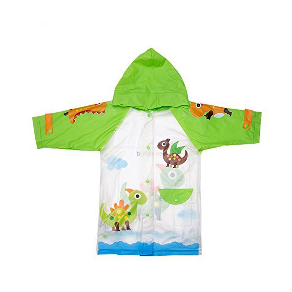 Kids Raincoat for Girls and Boys, Cartoon Waterproof Children's Raincoat Rain Jacket for Little Or Big Kids Toddlers with Fun Colorful Prints Green Dinosaurs by Hosim