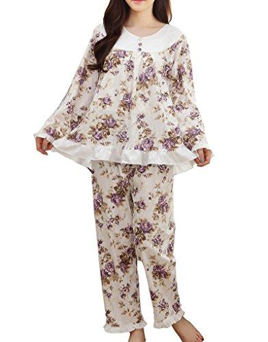 (MyFav Big Girl Peony Rose Pajama Sets Winter Sleepwear Florals Nighty Homewear)